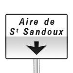Panneau de direction, signalement avancé d'affectation de voies d'aire sur route