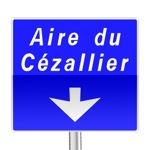 Panneau de direction, signalement avancé d'affectation de voies d'aire sur autoroute
