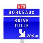 Panneau de direction de pré-signalisation d'affectation de voies de bifurcation autoroutière