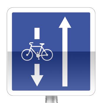 Panneau d'indication de conditions particulières de circulation par voie sur la route suivie