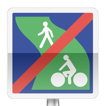 Panneau d'indication de fin d'une voie verte réservée à la circulation des piétons et des véhicules non motorisés