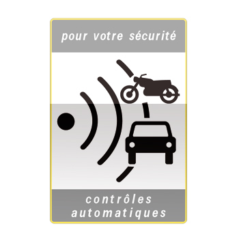 Panneau annonçant une zone où la vitesse est contrôlée par radars automatiques