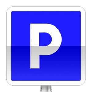 Panneau d'indication de lieu aménagé pour le stationement