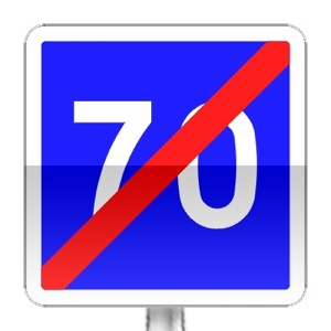Panneau d'indication de fin de vitesse conseillée