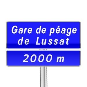 Panneau d'indication de pré-signalisation d'une gare de péage permettant le retrait d'un ticket de péage ou le paiement du péage
