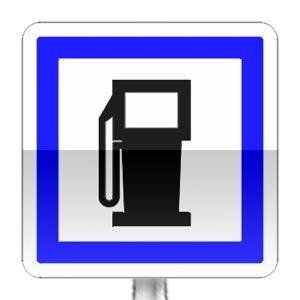 Panneau d'indication d'un poste de distribution de carburant ouvert 7/7j et 24/24h