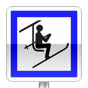 Panneau d'indication d'un point de départ d'un télésiège ou d'une télécabine