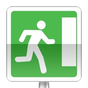 Panneau d'indication d'issue de secours vers la droite