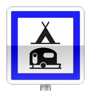 Panneau d'indication de terrain de camping pour tentes, caravanes et auto-caravanes.