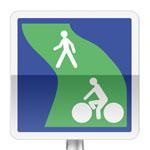 Panneau d'indication d'une voie verte réservée à la circulation des piétons et des véhicules non motorisés