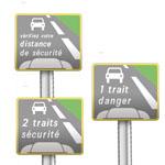 Signaux rappelant l'espacement que les usagers doivent laisser entre deux véhicules