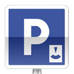 Panneau d'indication de lieu aménagé pour le stationnement à durée limité avec contrôle par disque