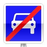 Panneau d'indication de fin route à accès réglementé