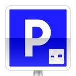 Panneau d'indication de lieu aménagé pour le stationnement gratuit à durée limitée avec contrôle par un dispositif approprié.