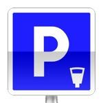 Panneau d'indication de lieu aménagé pour le stationnement payant