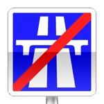 Panneau d'indication de fin d'une section d'autoroute