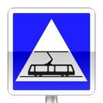 Panneau d'indication de traversée de tramways