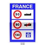 Panneau d'indication aux frontières des limites de vitesse sur le territoire français