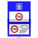Panneau d'indication. Rappel des limites de vitesse sur autoroute