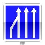 Panneau d'indication de réduction du nombre de voies sur une route à chaussées séparées ou sur un créneau de dépassement à chaussées séparées.