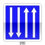 Panneau d'indication de pré-signalisation d'un créneau de dépassement ou d'une section de route à chaussées séparées.