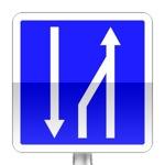 Panneau d'indication de fin d'un créneau de dépassement à trois voies affectées.