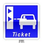Panneau d'indication de pré-signalisation d'une borne de retrait de ticket de péage