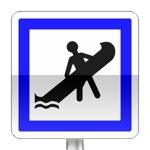 Panneau d'indication d'un emplacement de mise à l'eau des embarcations légères