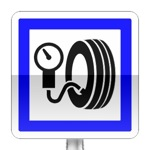 Panneau d'indication de station de gonflage, hors station service, dont l'usage est gratuit