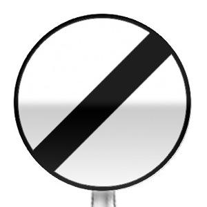 Panneau de fin de toutes les interdictions, pour les véhicules en mouvement