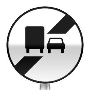 Panneau de fin d'interdiction de dépasser