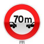 Panneau d'interdiction de maintenir une distance de sécurité inférieure au nombre indiqué