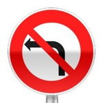 Panneau d'interdiction de tourner à gauche à la prochaine intersection