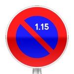 Panneau d'interdiction de stationner du 1er au 15 du mois