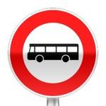 Panneau d'interdiction d'accès aux véhicules de transport en commun