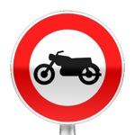 Panneau d'interdiction d'accès aux motocyclettes
