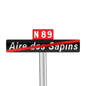 Panneaux de fin de localisation d'un aire routière