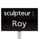 Panneau indiquant le nom de l'auteur d'une oeuvre d'art