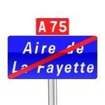 Panneaux de fin de localisation d'une aire autoroutière