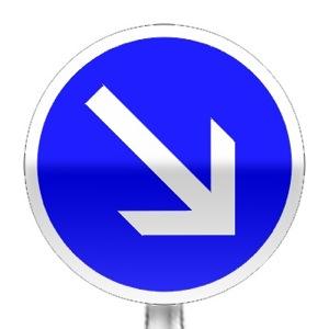 Panneau d'obligation de contourner par la droite