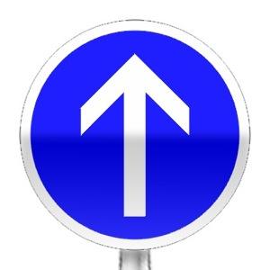 Panneau d'obligation d'aller tout droit à la prochaine intersection