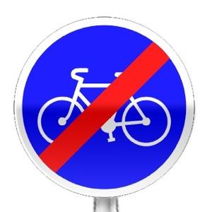 Panneau fin d'obligation de circuler sur la piste ou bande cyclable