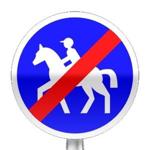 Panneau de fin de chemin obligatoire pour cavaliers