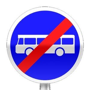 Panneau de fin d'obligation, fin de voie réservée aux véhicules des services réguliers de transport en commun