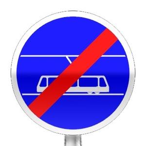 Panneau de fin d'obligation, fin de voie réservée aux tramways