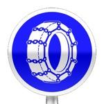 Panneau d'obligation d'utiliser les chaînes à neige au moins sur deux roues motrices