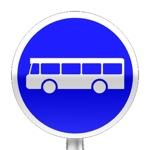Panneau d'obligation, voie réservée aux services régulier de transport en commun