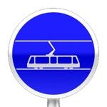 Panneau d'obligation, voie réservée aux tramways