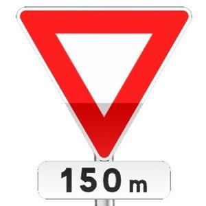 Panneau de priorité, signal avancé, céder le passage à l'intersection