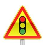 Panneau signalisation temporaire, feux tricolore